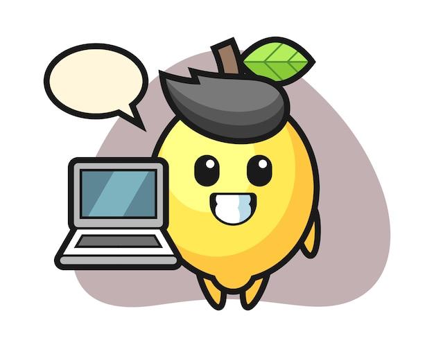 ノートパソコンでレモンのマスコットイラスト