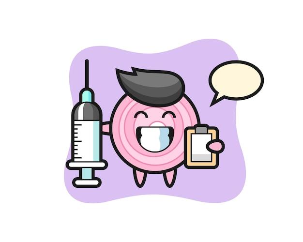 의사로서의 양파 링의 마스코트 그림, 티셔츠, 스티커, 로고 요소를 위한 귀여운 스타일 디자인