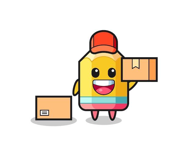 택배로 연필의 마스코트 그림, 티셔츠, 스티커, 로고 요소를 위한 귀여운 스타일 디자인