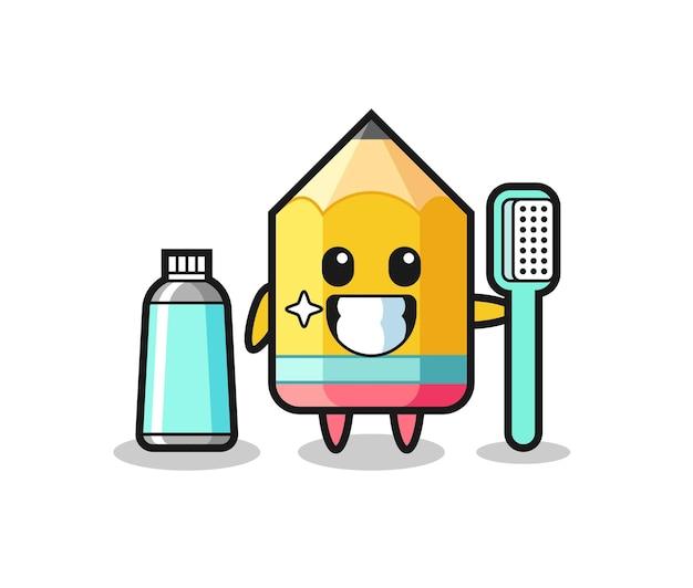 歯ブラシと鉛筆のマスコットイラスト、tシャツ、ステッカー、ロゴ要素のかわいいスタイルのデザイン