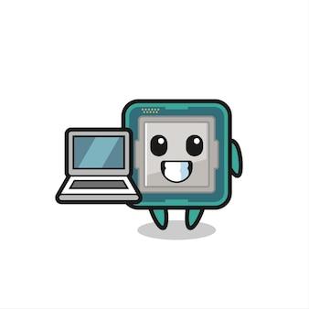 노트북이 있는 프로세서의 마스코트 그림, 티셔츠, 스티커, 로고 요소를 위한 귀여운 스타일 디자인