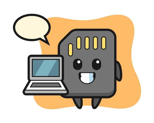 마스코트 노트북, sd 카드의 귀여운 그림 t 셔츠를위한 귀여운 스타일 디자인
