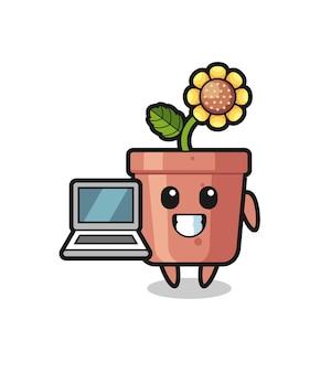Иллюстрация талисмана горшка подсолнечника с ноутбуком, милый стиль дизайна для футболки, наклейки, элемента логотипа
