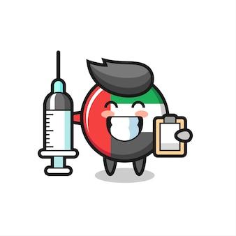 의사로서의 아랍에미리트 국기 배지의 마스코트 그림, 티셔츠, 스티커, 로고 요소를 위한 귀여운 스타일 디자인