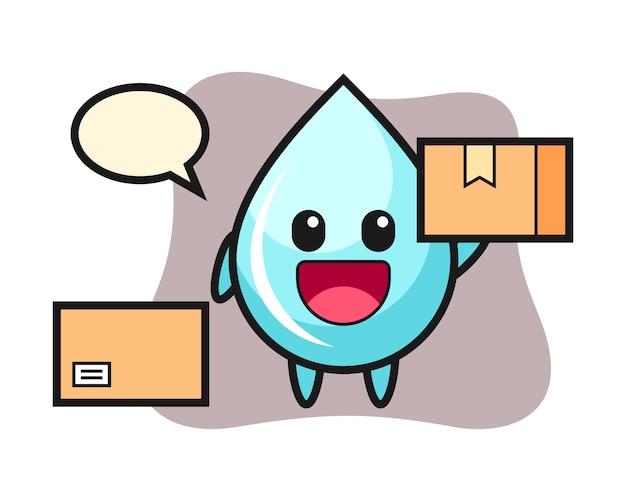 Иллюстрация талисмана падения воды как курьер, милый дизайн стиля для футболки