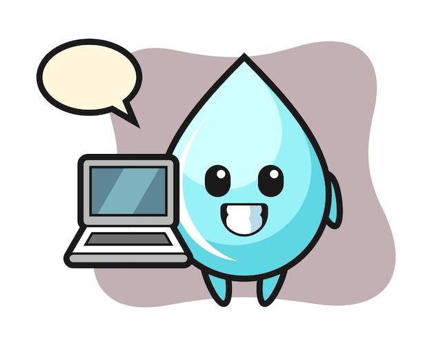 노트북, 물방울 셔츠의 귀여운 스타일 디자인으로 물방울의 마스코트 그림