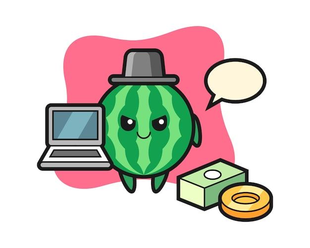 해커로 수박의 마스코트 그림