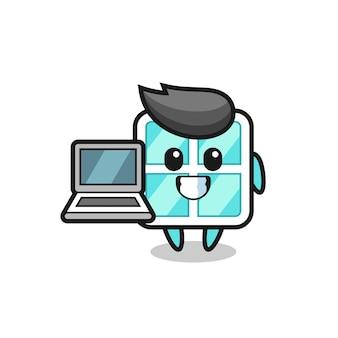 노트북이 있는 창의 마스코트 그림, 티셔츠, 스티커, 로고 요소를 위한 귀여운 스타일 디자인