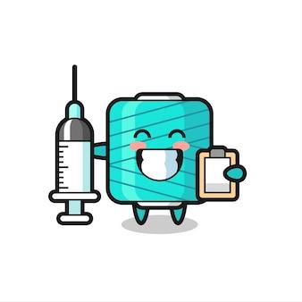 의사로서의 원사 스풀의 마스코트 그림, 티셔츠, 스티커, 로고 요소를 위한 귀여운 스타일 디자인
