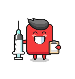 Mascot illustration of red card as a doctor , cute style design for t shirt, sticker, logo element