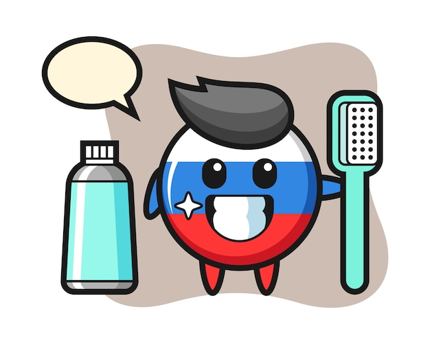 Mascot illustration of russia flag badge with a toothbrush, cute style design