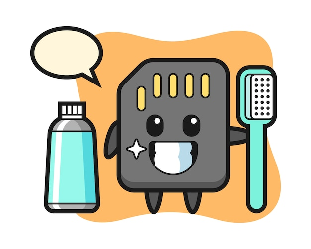Mascot illustration of sd card with a toothbrush, cute style design for t shirt