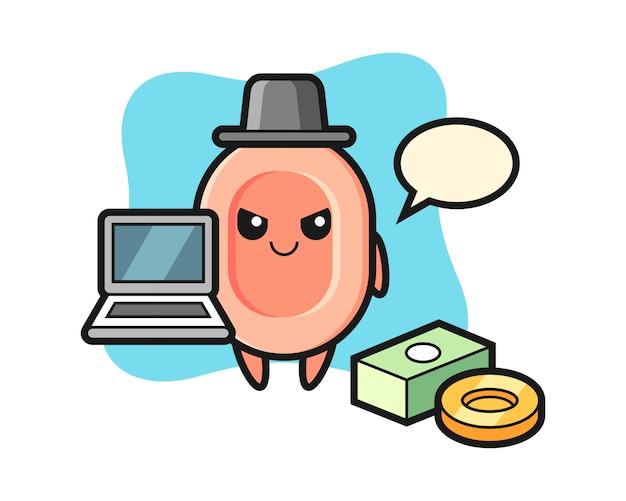 Mascot illustration of soap as a hacker, cute style  for t shirt, sticker, logo element