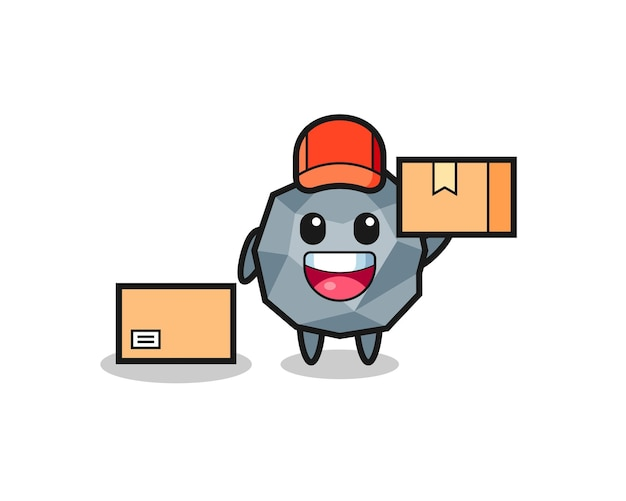 Mascot illustration of stone as a courier , cute style design for t shirt, sticker, logo element