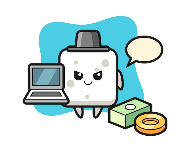 Mascot illustration of sugar cube as a hacker, cute style  for t shirt, sticker, logo element