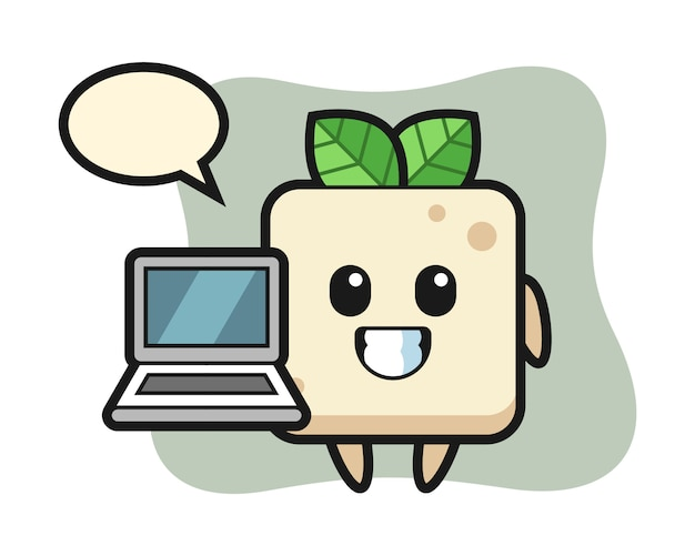 Mascot illustration of tofu with a laptop, cute style design for t shirt