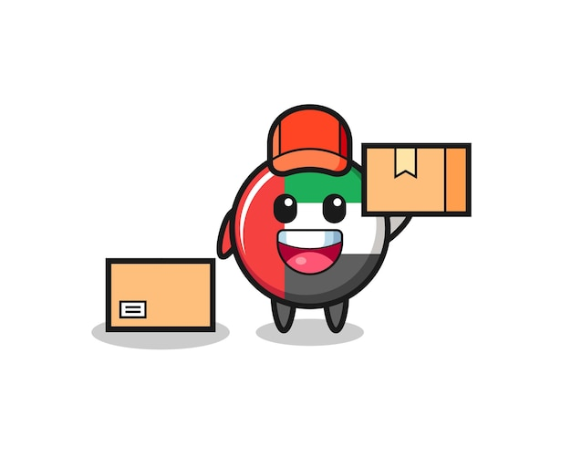 Mascot illustration of uae flag badge as a courier , cute style design for t shirt, sticker, logo element