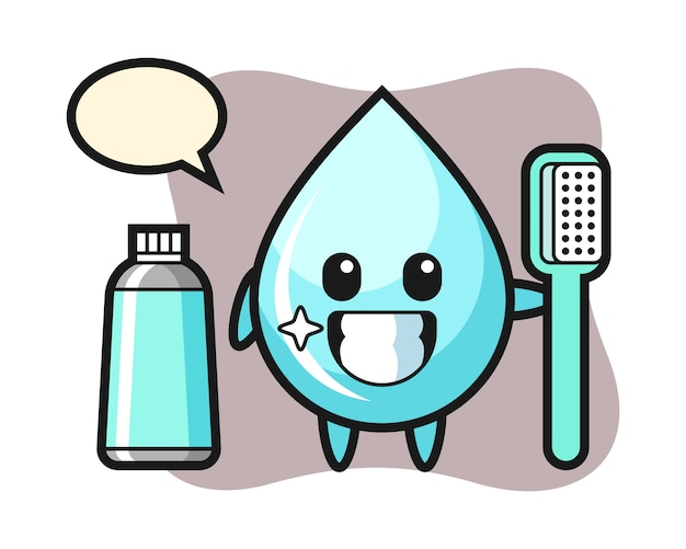 Mascot illustration of water drop with a toothbrush, cute style design for t shirt