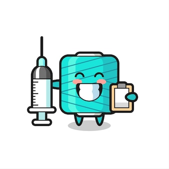 Mascot illustration of yarn spool as a doctor , cute style design for t shirt, sticker, logo element