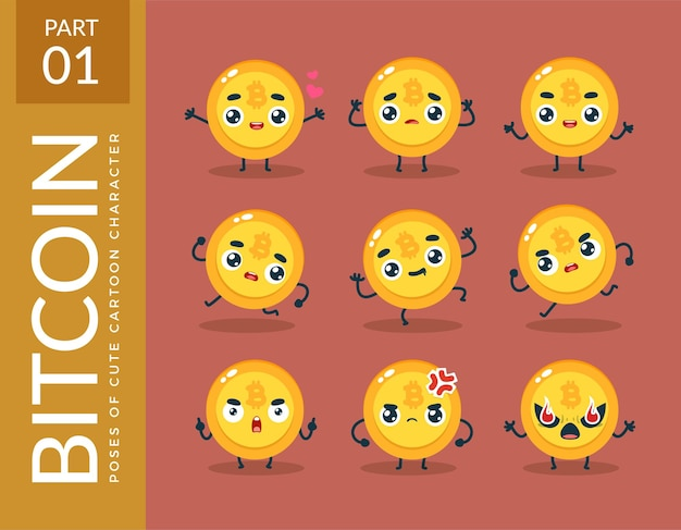 Mascot images of the bitcoin. set.