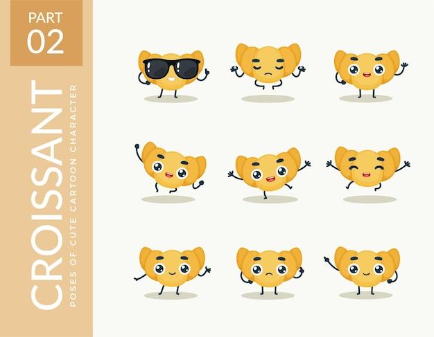 Mascot images of the croissant. set.