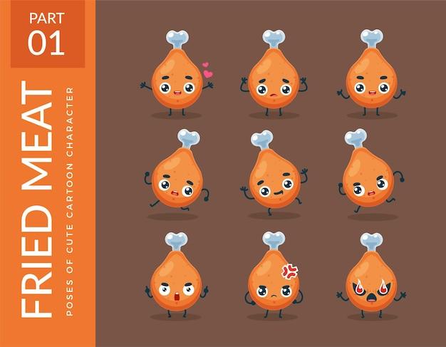 Immagini mascotte della carne fritta. impostato.