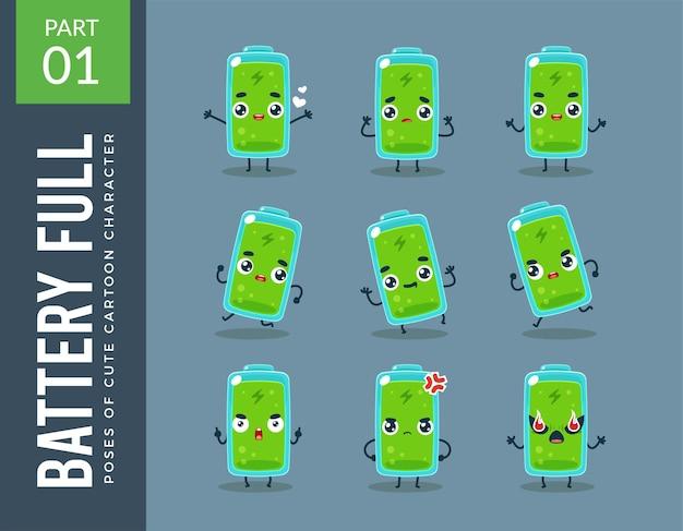 Immagini mascotte della batteria piena. impostato.