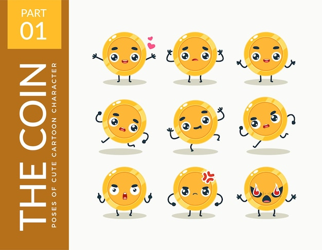 Immagini mascotte della moneta d'oro. impostato.