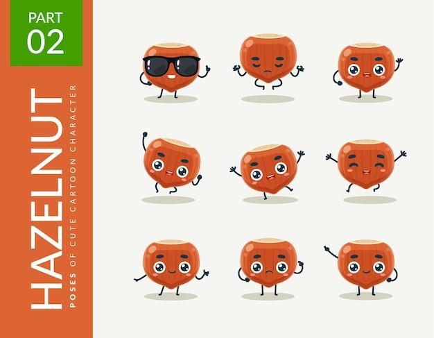 Mascot images of the hazelnut. set.