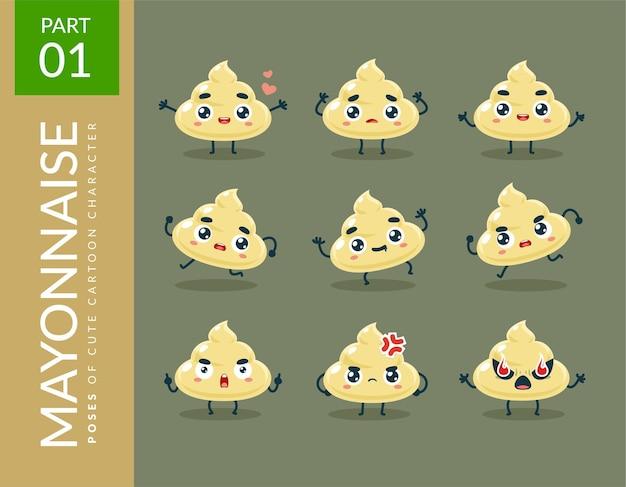 Immagini mascotte della maionese. impostato.