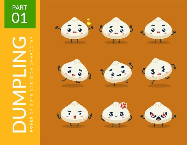 귀여운 만두의 마스코트 이미지. 세트.