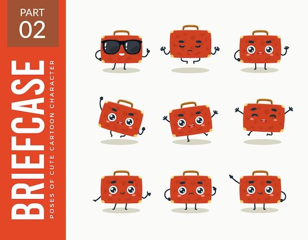 赤いブリーフケースのマスコット画像。セットする。