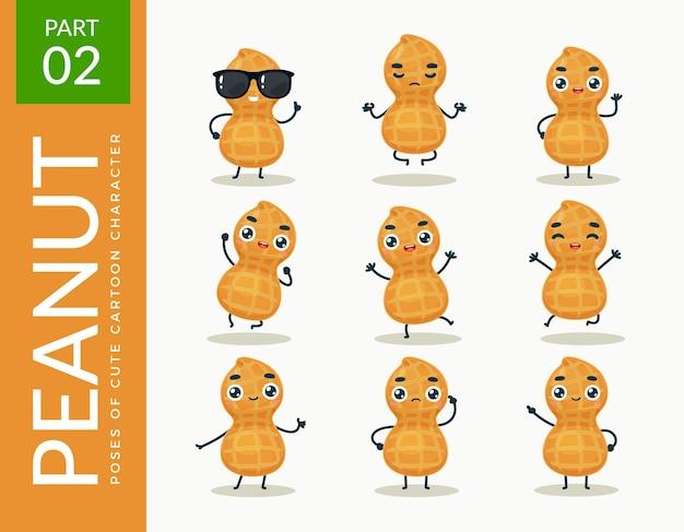 Mascot images of the peanut. set.