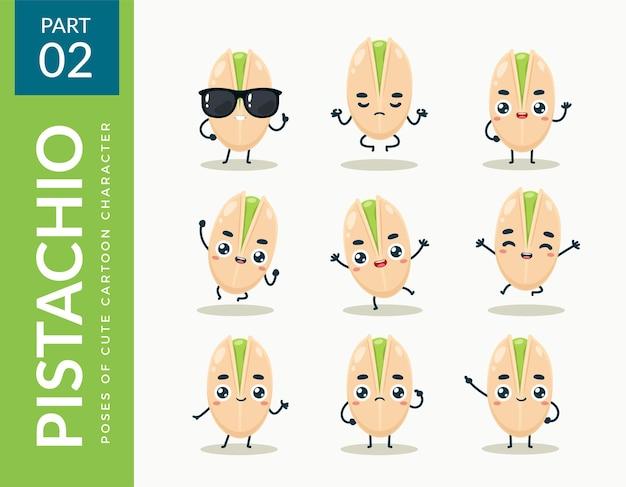 Mascot images of the pistachio. set.
