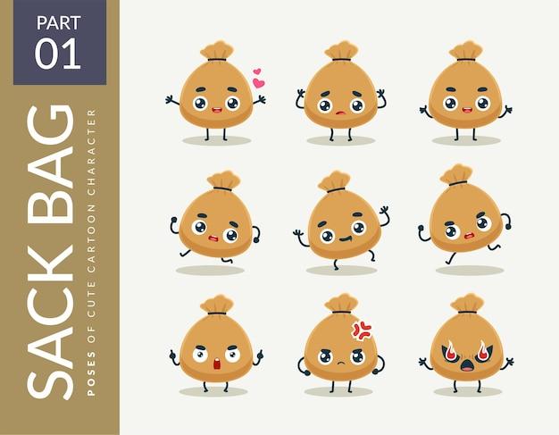 Immagini mascotte della sacca. impostato.