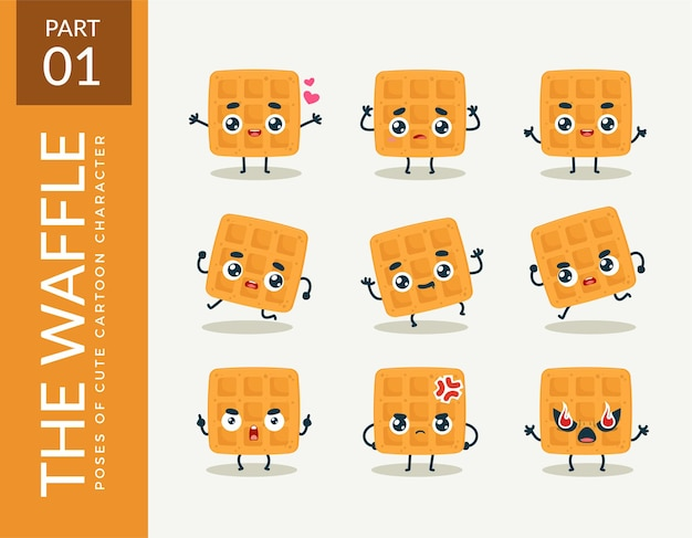 Mascot images of the waffle. set.