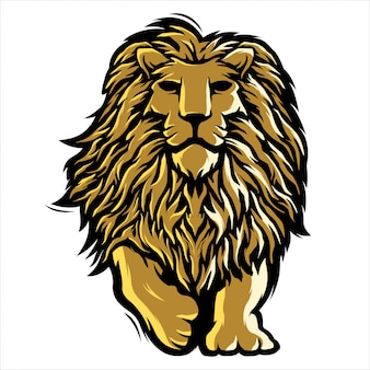 Mascot lion illustration logo