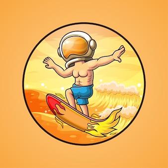 マスコットのロゴの宇宙飛行士がビーチでサーフィン