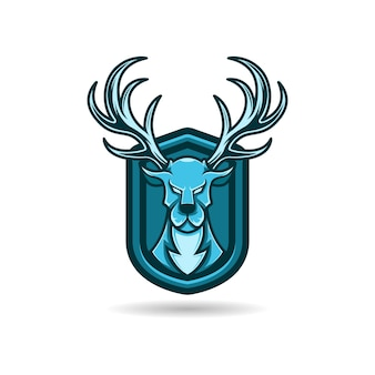 Mascot logo blue deer with shield background. premium