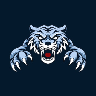 Mascot logo blue tiger with background