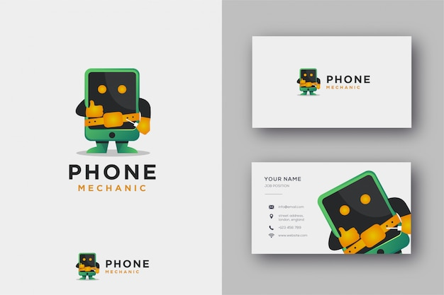 Mascot logo of phone mechanic and business card