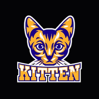 Mascot logo with with kitten