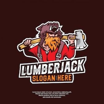 Mascot lumberjack logo template
