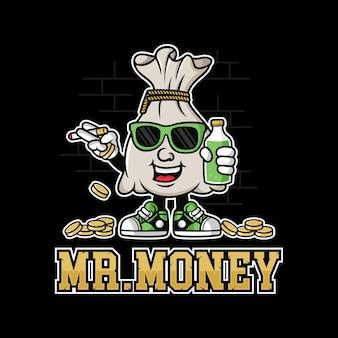 Mascot money coin  illustration