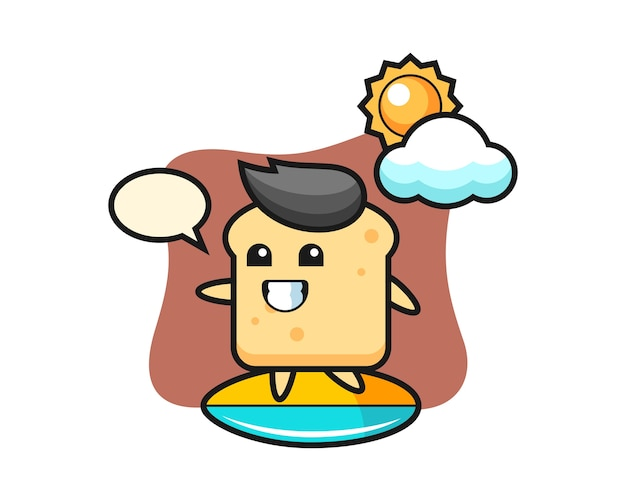 パンの漫画のマスコットはビーチでサーフィンをします