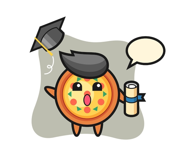 Mascot of pizza cartoon throwing the hat at graduation