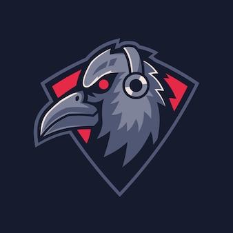 Mascot raven gaming logo design