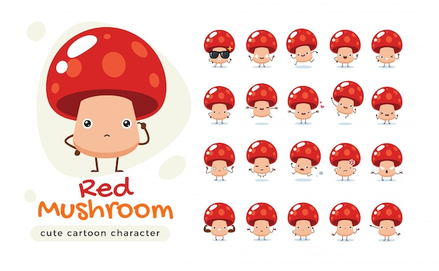 A mascot of the red mushroom. isolated   illustration
