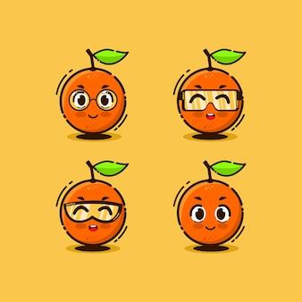 Mascot set of the cute orange cartoon vector illustration