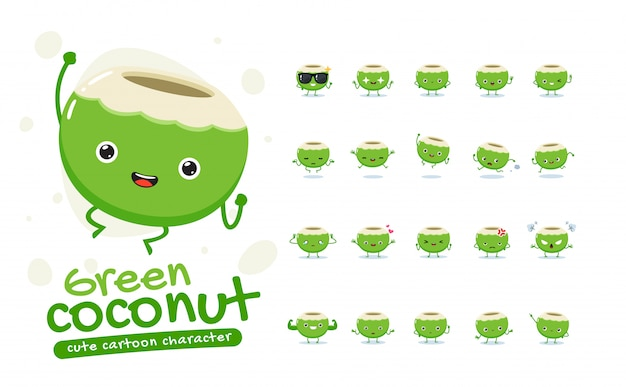 Mascot set of the green coconut. twenty mascot poses. isolated   illustration
